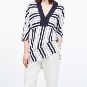 Zara | White Navy Striped Oversized Tunic Top XS